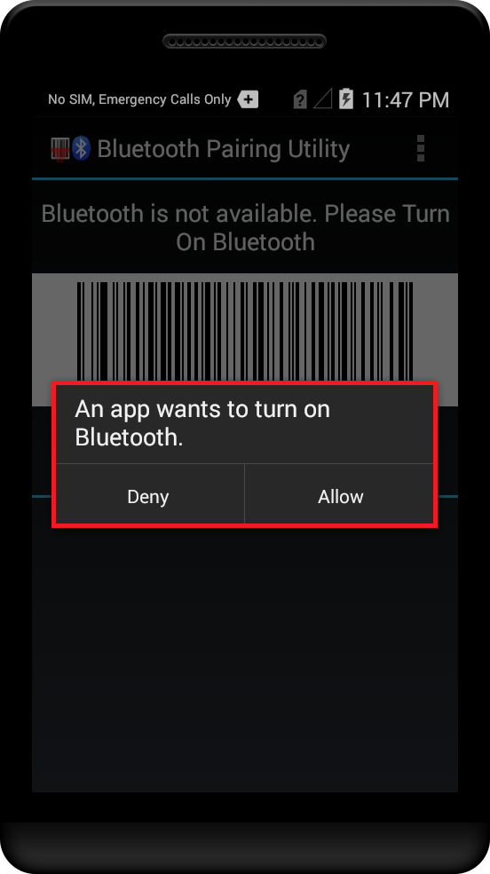 Pairing with Bluetooth Scanning device using Bluetooth Scanner API