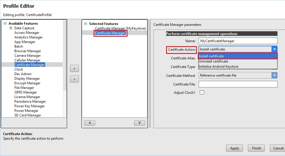 Install ca certificate using certificate manager zebra to uninstall any installed certificate select uninstall certificate option from certificate action drop down and provide the appropriate alias name of yelopaper
