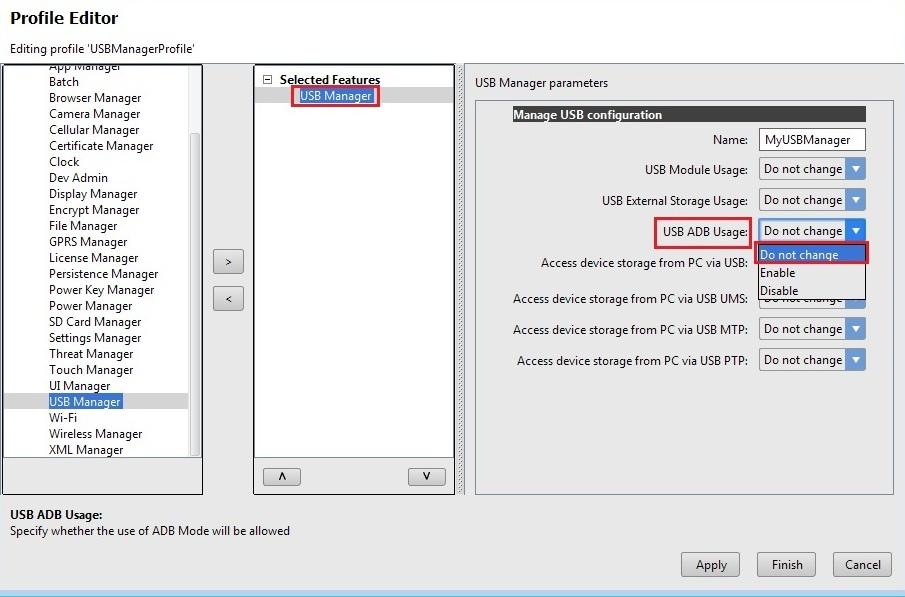 Manage USB Configurations - Zebra Technologies TechDocs