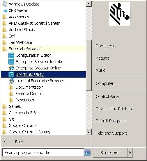 Shortcuts And The Shortcut Utility Zebra Technologies Techdocs