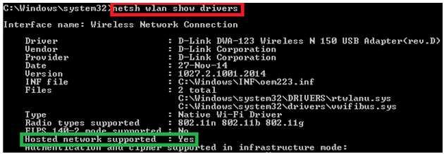 netsh wlan show drivers not working
